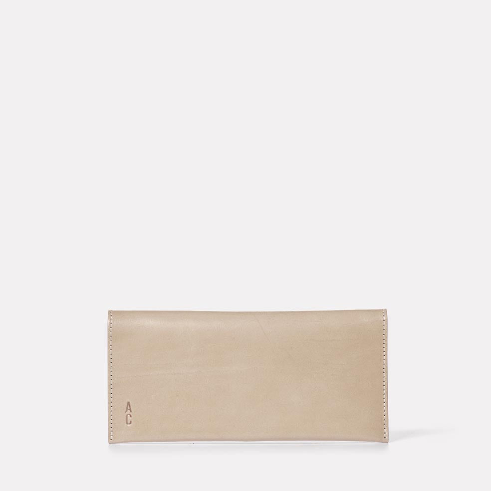 Evie Long Leather Purse in Grey