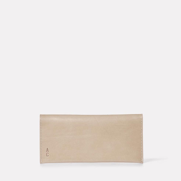 Evie Long Leather Purse in Grey Front