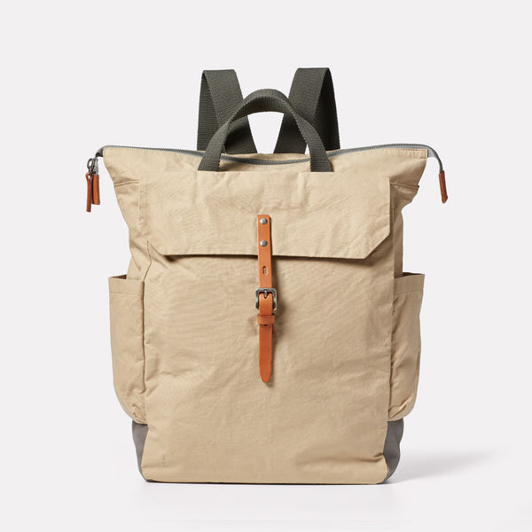 Fin Waxed Cotton Backpack in Putty Front