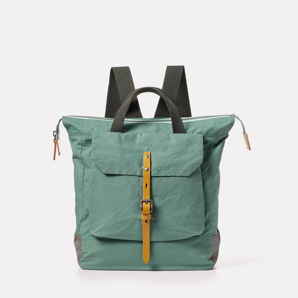 Frances Waxed Cotton Backpack in Green