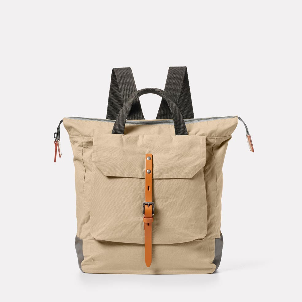 Frances Waxed Cotton Backpack in Putty