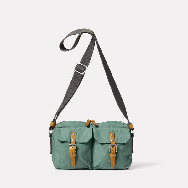 Franco Waxed Cotton Crossbody Bag in Green Front