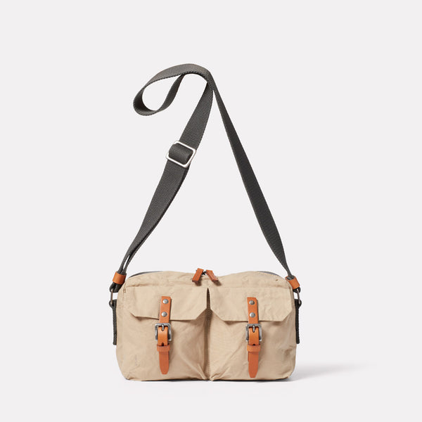 Franco Waxed Cotton Crossbody Bag in Putty Front