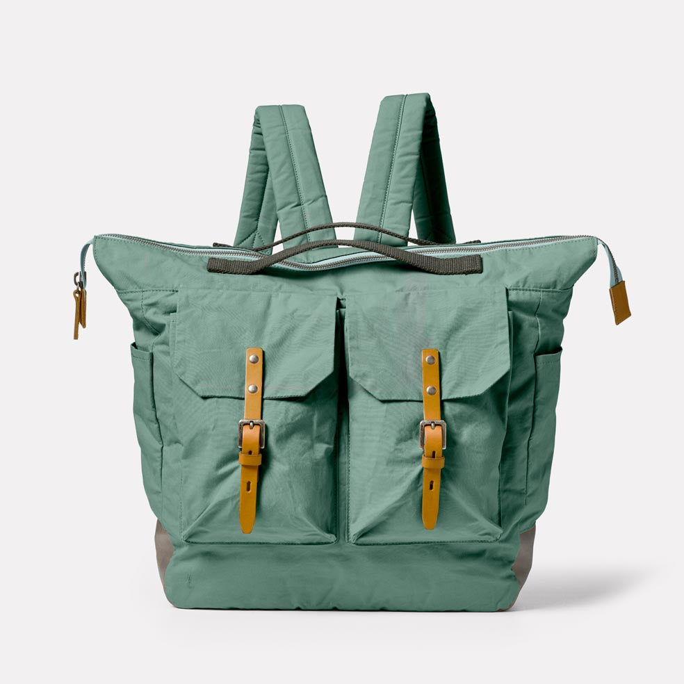 Frank Large Waxed Cotton Backpack in Green