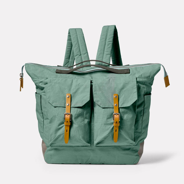 Frank Large Waxed Cotton Backpack in Green Front