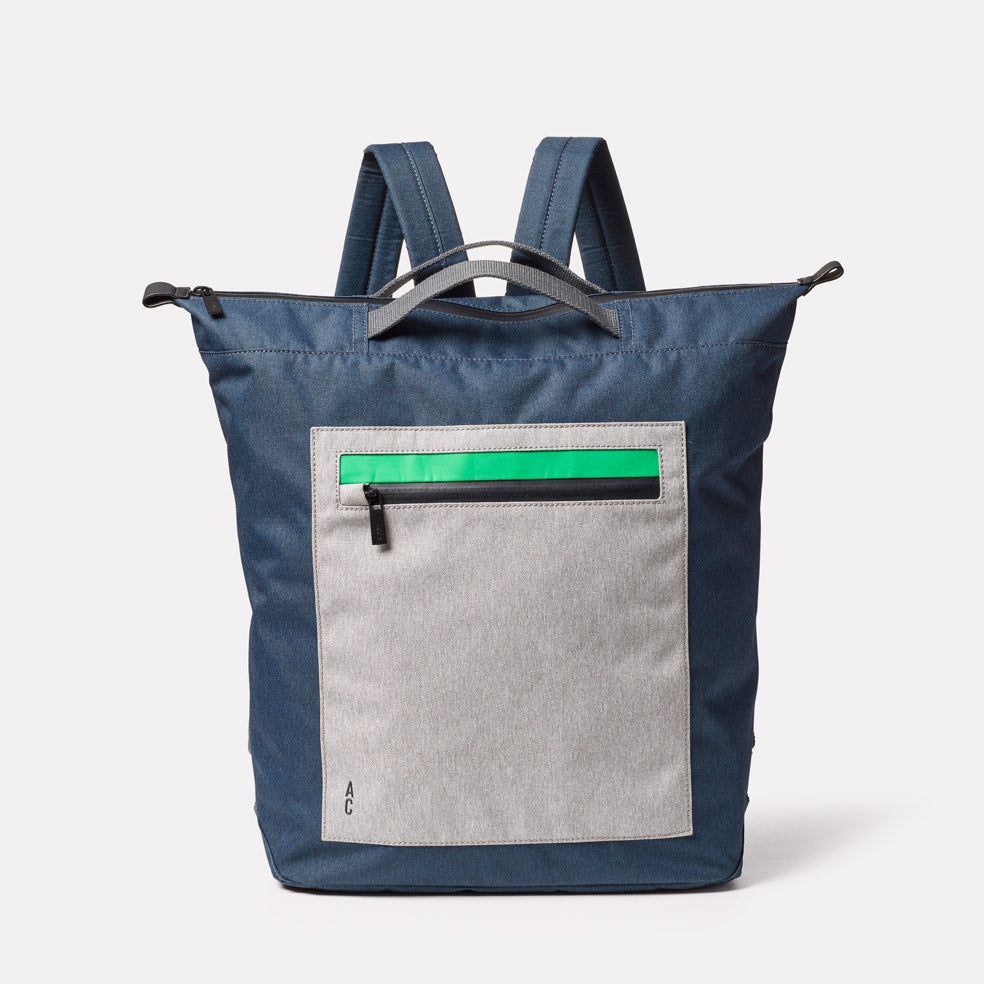 Hoy Non Leather Travel Cycle Backpack in Navy/Grey