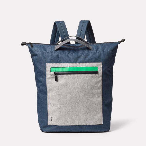Hoy Non Leather Travel Cycle Backpack in Navy/Grey Front