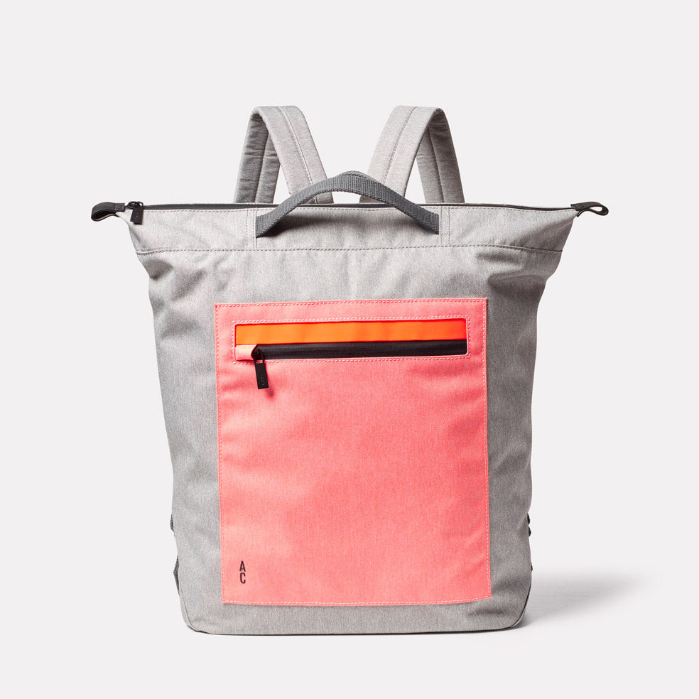 Hoy Non Leather Travel Cycle Backpack in Grey/Orange