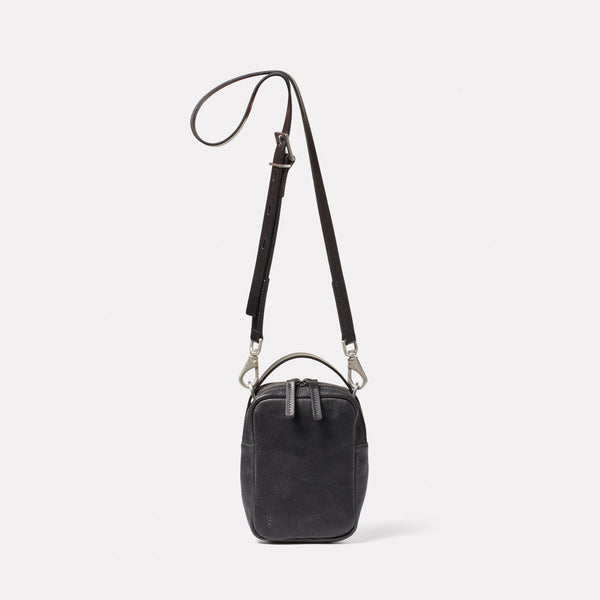 Hurley Calvert Leather Crossbody Bag in Black Front