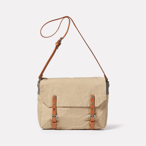Jeremy Small Waxed Cotton Satchel in Putty Front