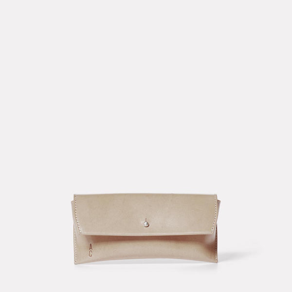 Kit Leather Glasses Case in Grey Front