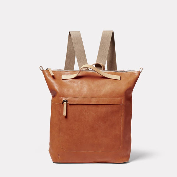 Hoy Leather Backpack in Tan Front