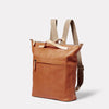 Hoy Leather Backpack in Tan Angle