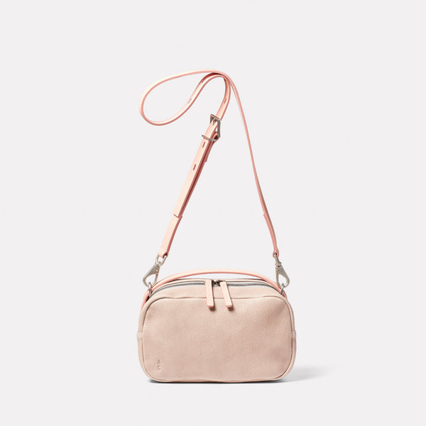 Leila Medium Calvert Leather Crossbody Bag in Putty Front