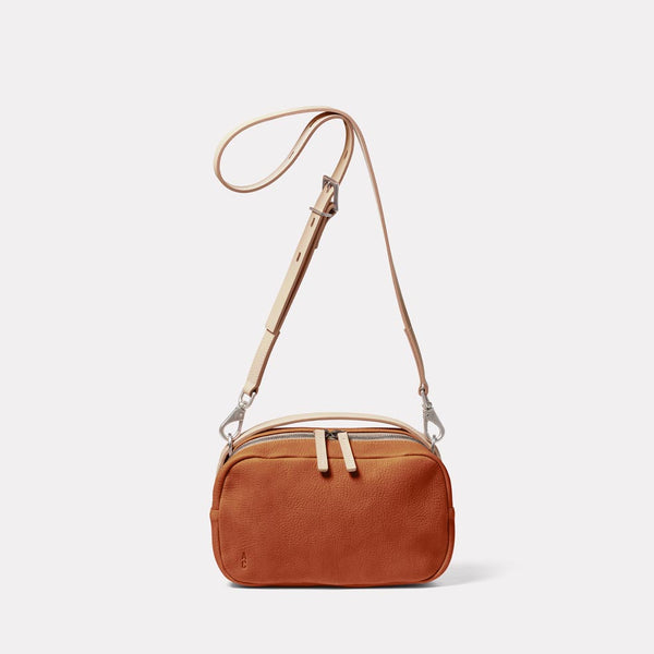 Leila Medium Calvert Leather Crossbody Bag in Tan Front