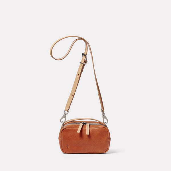 Leila Small Calvert Leather Crossbody Bag in Tan Front