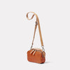 Leila Small Calvert Leather Crossbody Bag in Tan side