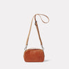 Leila Small Calvert Leather Crossbody Bag in Tan Back