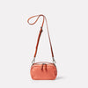 Limited Edition Leila Small Leather Crossbody Bag in Coral Front