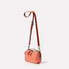 Limited Edition Leila Small Leather Crossbody Bag in Coral angle