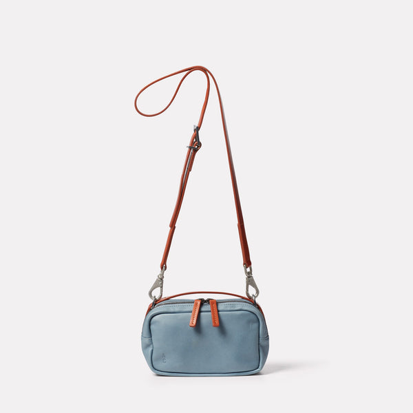 Limited Edition Leila Small Leather Crossbody Bag in Denim Front