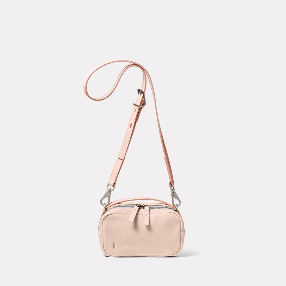 Leila Small Calvert Leather Crossbody Bag in Putty