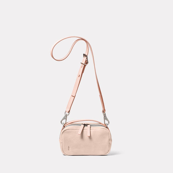 Leila Small Calvert Leather Crossbody Bag in Putty Front
