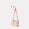 Leila Small Calvert Leather Crossbody Bag in Putty Angle
