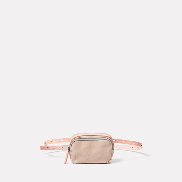 Leila Tiny Calvert Leather Crossbody Bag in Putty Front
