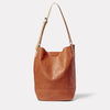 Lloyd Calvert Leather Bucket Bag in Tan front