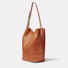 Lloyd Calvert Leather Bucket Bag in Tan side