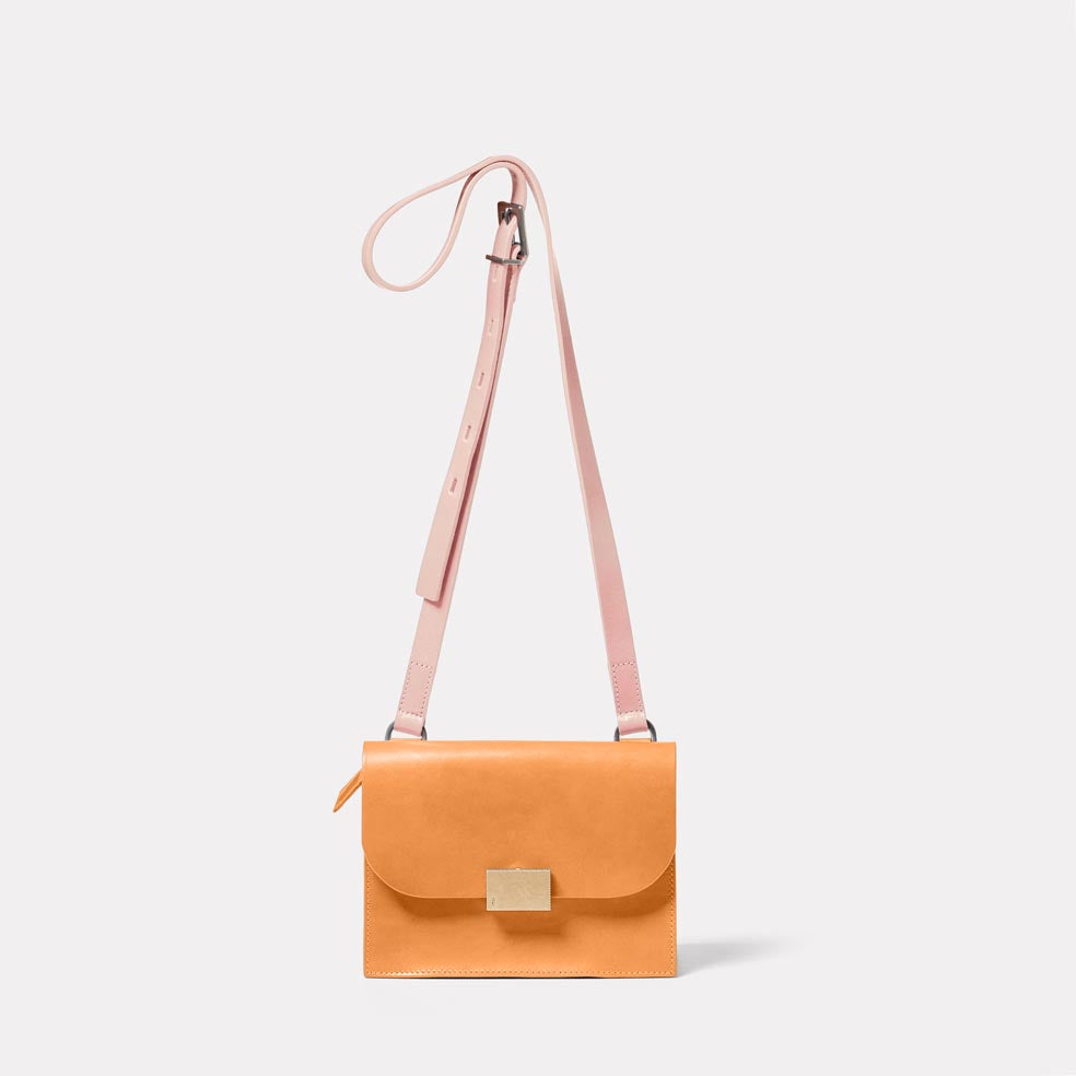 Lockie Boundary Leather Crossbody Lock Bag in Apricot