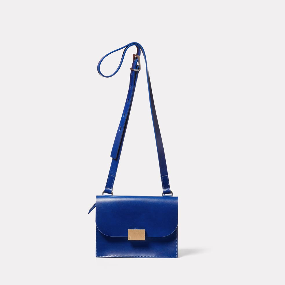 Lockie Boundary Leather Crossbody Lock Bag in Blue