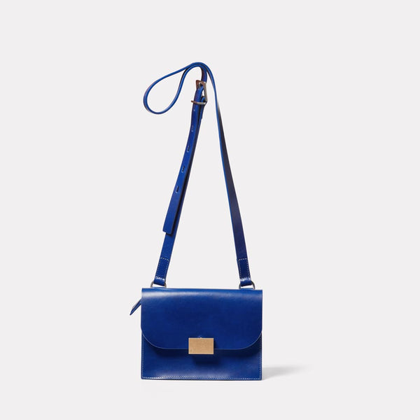 Lockie Boundary Leather Crossbody Lock Bag in Blue Front