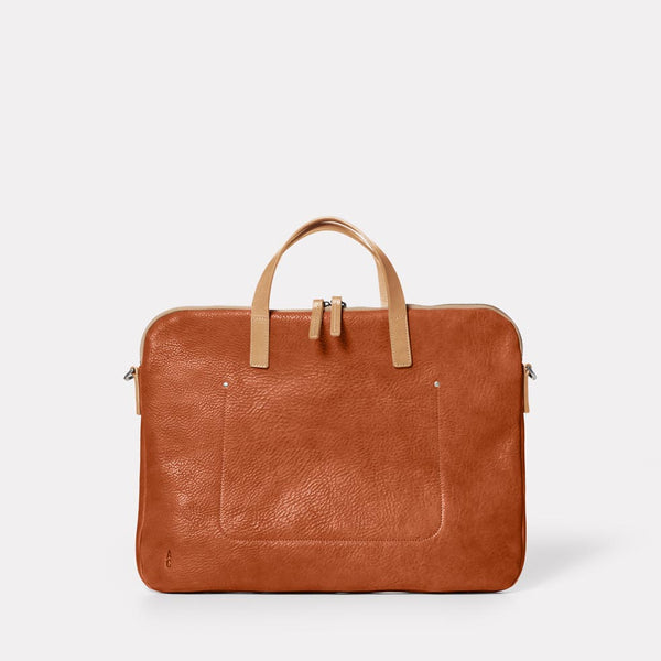 Marcus Calvert Leather Folio Bag in Tan Front