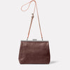 Maxine Leather Frame Crossbody Bag in Brown/White Front
