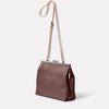 Maxine Leather Frame Crossbody Bag in Brown/White Angle