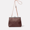 Maxine Leather Frame Crossbody Bag in Brown/White Back