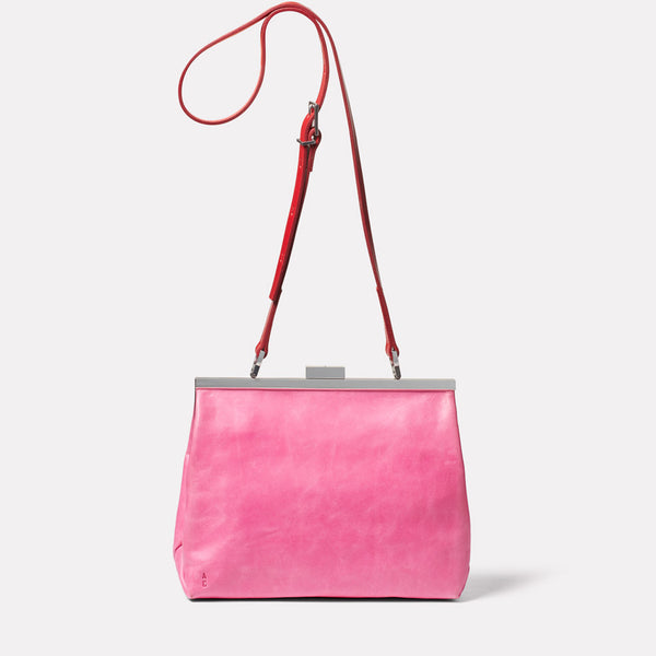 Maxine Leather Frame Crossbody Bag in Pink/Red Front