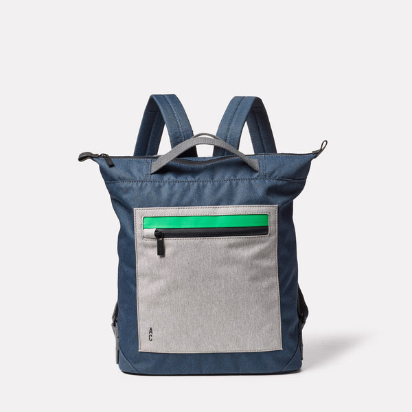 Mini Hoy Non Leather Travel Cycle Backpack in Navy/Grey Front