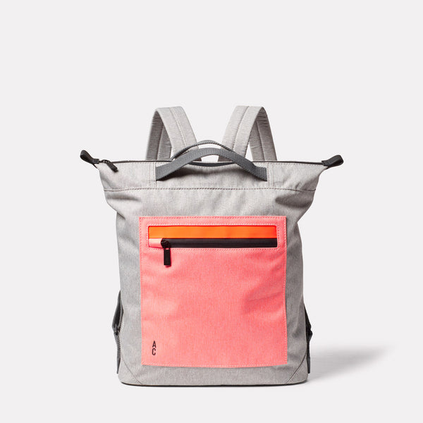 Mini Hoy Non Leather Travel Cycle Backpack in Grey/Orange Front