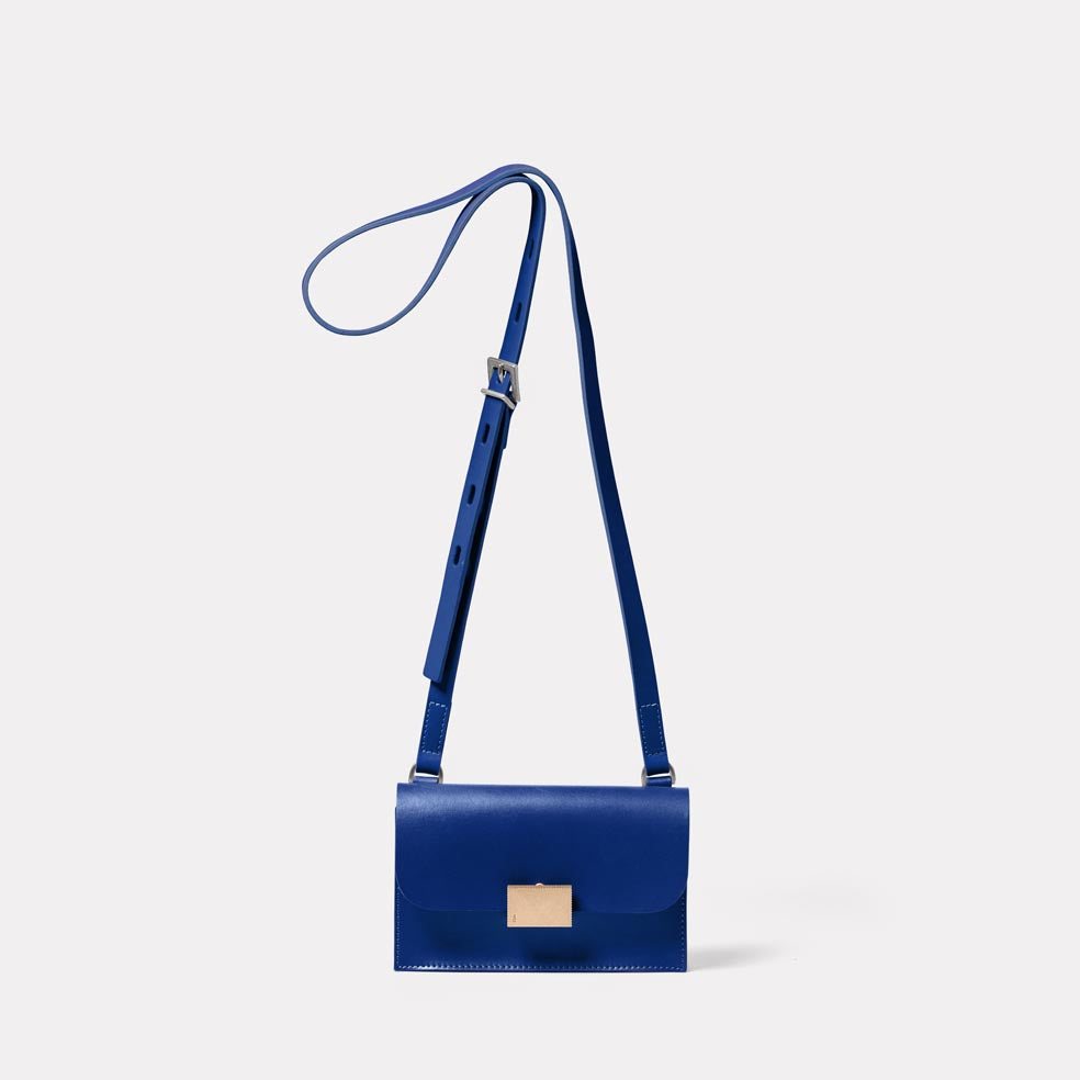 Mini Lock Boundary Leather Crossbody Lock Bag in Blue
