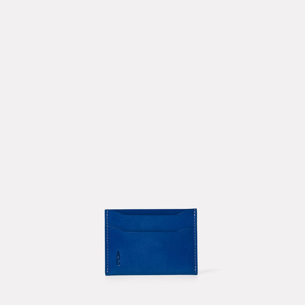 Pete Calvert Leather Card Holder in Blue Front