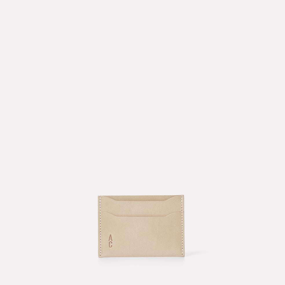 Pete Leather Card Holder in Grey
