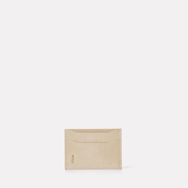 Pete Calvert Leather Card Holder in Grey Front