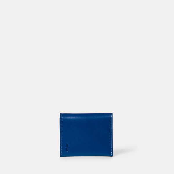 Riley Leather Coin Card Purse in Blue Front
