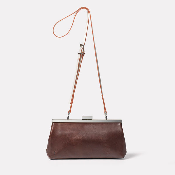 Roxie Leather Frame Crossbody Bag in Brown/White Front
