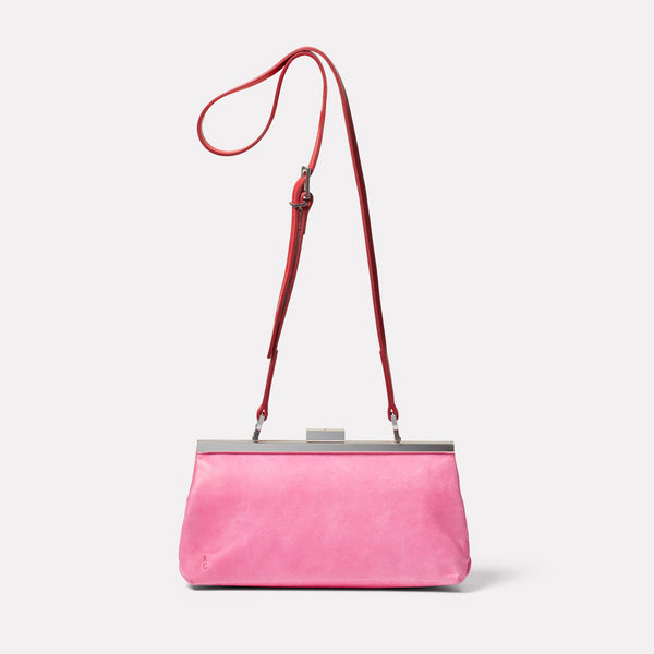 Roxie Leather Frame Crossbody Bag in Pink/Red Front
