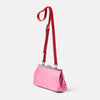 Roxie Leather Frame Crossbody Bag in Pink/Red Angle