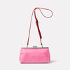 Roxie Leather Frame Crossbody Bag in Pink/Red Back
